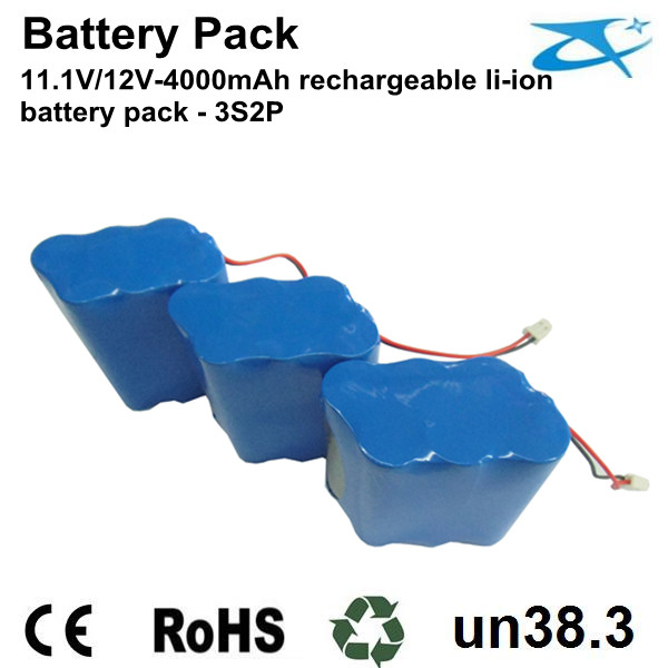 12V/4000mAh rechargeable li-ion battery pack