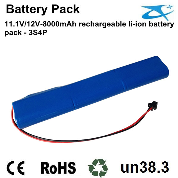 11.1V/12V 8Ah lithium battery pack 18650
