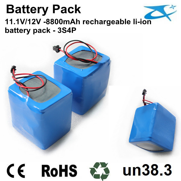 18650 battery pack 3s4p 11.1V/12V-8800mAh
