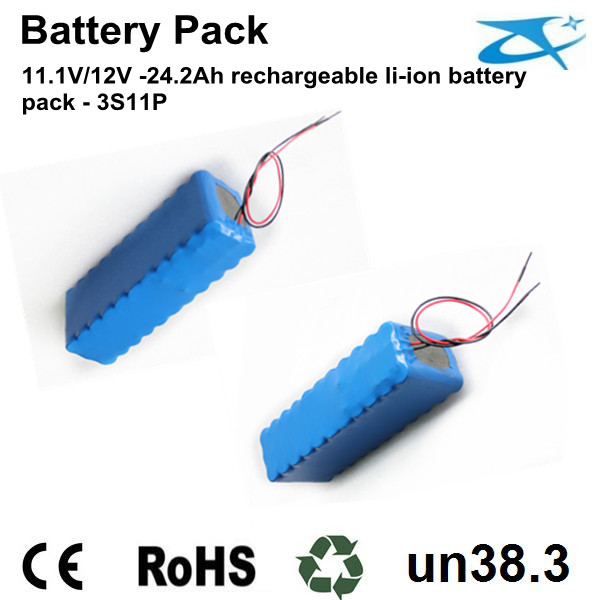 18650 11.1V/12V rechargeable battery pack 24.2Ah
